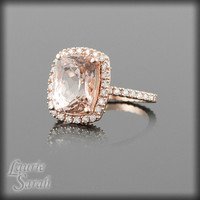 Morganite Engagement Ring in Rose Gold  by LaurieSarahDesigns