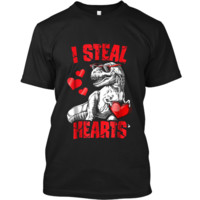 I Steal Hearts  Valentines Day Dinosaur T rex Boys Kids Custom Ultra Cotton