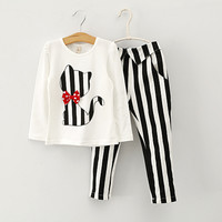 spring girl 35 dress children clothing set Baby Kids Cartoon Cats Long Sleeve T Shirt Pants Suit sport suit