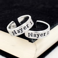 Player 1 & Player 2 Video Game Ring Set - Nintendo - Gamer Gift - Best Friends - Adjustable Aluminum Rings