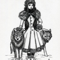 Winter Witch - Original Ink Illustration - Girl with Fur Coat and Wolves - OOAK by Amanda Lanford