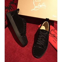 Christian Louboutin CL Louis Junior Spikes Men's Women's Flat Black Suede Shoes
