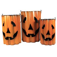 Halloween Metal Pumpkin Baskets Ghost Pumpkin Set Wavy - 318-33718-33734 OS3