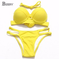 Double Bandage Low Waist Swimsuit Super Push up Swimwear Bikini Sets Retro Vintage Sexy Plus Size Bathing Suit Brazilian 5