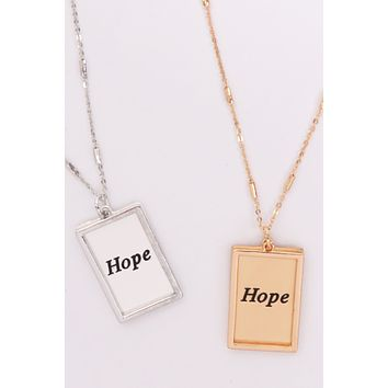 "MYN1421MGHP - ""HOPE"" ETCHED BRASS BOX PENDANT NECKLACE"
