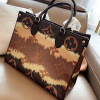 LV fashion brand color matching canvas presbyopia women's shopping bag handbag shoulder messenger bag
