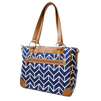 Laptop Camera Bag - Navy and Camel Chevron Arrows - Laptop Tote - Womens Laptop Satchel - Canvas and Vegan Leather