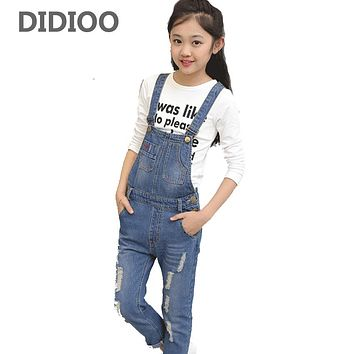 Kids Ripped Jeans For Girls Denim Overalls Casual Children Pants Students Hole Trousers Spring Autumn Rompers 2 3 5 7 9 11 Years