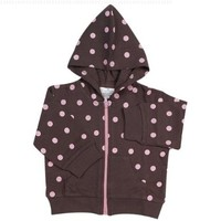 Elegant Baby Chocolate w/ pink dots hooded jacket, large 6-12 months