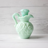 Vintage Avon Victoriana Rose Pitcher with Stopper | Teal Swirl Milk Glass | Perfume and Oil Bottle