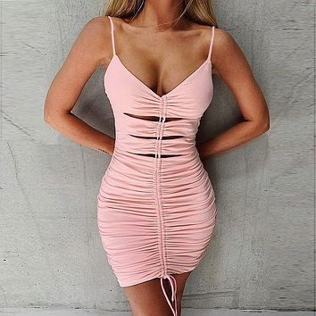 Women's suspenders sexy hollow V-neck bag hip skirt drawstring dress pink