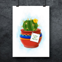 Cactus printable poster, Office plant print, Houseplant print, Flower poster, Cactus poster, Cactus quote, Office poster, INSTANT DOWNLOAD
