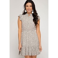Ditsy Print Flutter Sleeve Dress - Cream
