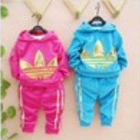 Listed in stock retail 1set boy and girl clothing sets autumn winter velvet long beach suit colorful printe 2014 new baby sets - Default