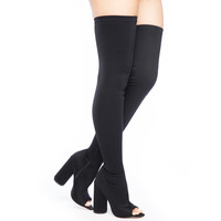 SHAYLA LYCRA THIGH HIGH BOOT - BLACK