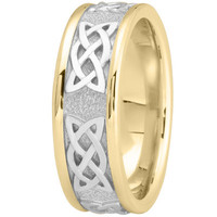 Wedding Band - Celtic Mens Wedding Ring in Two Tone