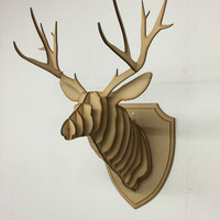 Large/ Small Wooden Deer Head Kit Wall Art Decor - Laser Cut Stag Head With Antlers