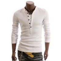 Mens Casual Lined Henley Shirts, White X-Large