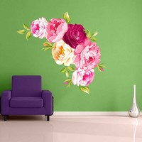 Peony Wall Decal Peony Flowers Wall Sticker Vintage Watercolor Peony Wall Stickers Floral Wall Decals Wall Decor cik2263