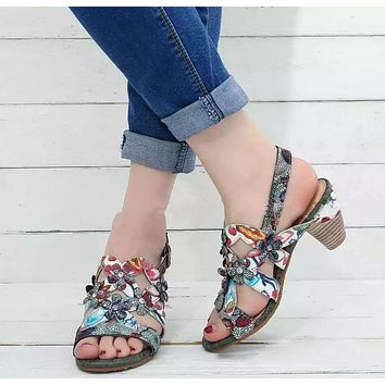 Summer new style fashion ethnic flower red high-heeled large size women's sandals women's shoes