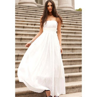 White Strapless Chiffon Maxi Dress
