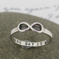 Infinity ring, hand stamped personalized, skinny design ring in sterling silver