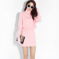 Plain Turtle Neck Knitted  Sweater Dress