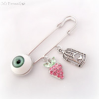 Baby charm safety pin, evil eye brooch, baby good luck charm, pram accessories, kilt pin, baby gift