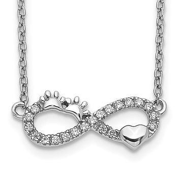 14k White Gold Real Diamond Infinity Pawprint/Heart 18 inch Necklace