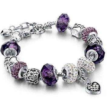 Silver Plated Chain Purple Glass Crystal Beads Heart Charm Bracelet for Women