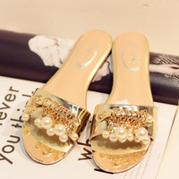 Summer Leather Flat Korean Pearls Slippers [4920468228]