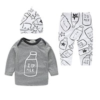 3Pcs Unisex Newborn Baby Girl Clothes Pattern Letter Milk Long Sleeve+Pants+hat Autumn Baby Boy Clothing Set