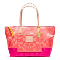 Coach :: Legacy Weekend Signature Colorblock Nylon East/west Tote