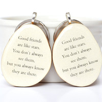 Best friend key chain set best friend gift sister gift going away gift bff key charm nature gift eco friendly