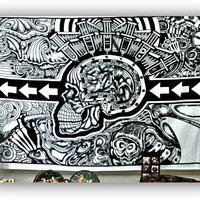 Grateful Dead Black Skull Wall Tapestry