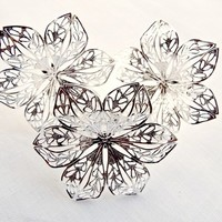 Silver Plated Filigree Flower Style Adjustable Rings - Set of 5