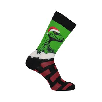 Raptor Claus Crew Socks in Green Habanero