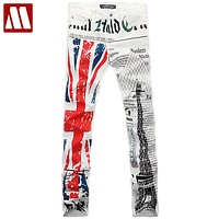 Fashion Flag jeans designer eiffel tower print jeans men