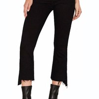 Black Distressed Ankle Bootcut Jeans