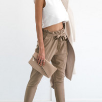 Ms agaric edge belt foot trousers cultivate one's morality pants