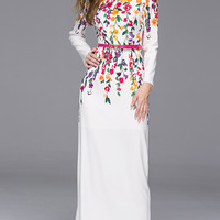 White  Long Sleeves Floral Print Maxi Dress
