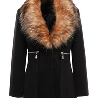 Black Coat with Faux Fur Lapel not available