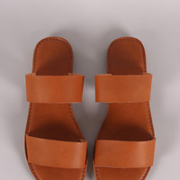 Double Band Slip On Flat Sandal