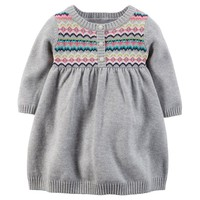 Carter's Fairisle Sweater Dress - Baby Girl, Size: