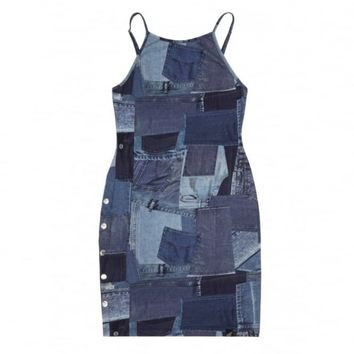 Patchwork Denim Popper Dress