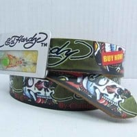 ED Hardy  Men and  Woman  Fashion Smooth Buckle Leather Belt