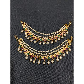 Matte gold plated Peacock design Kemp stone triple layer earrings chain / Maatal