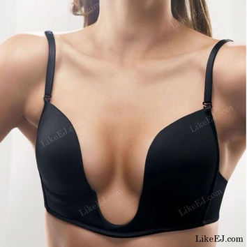 Fashion Forms U  Bra Ultra Deep U Plunge Wire Free Push up V Bra 3 Way Straps Brassiere Underwear New