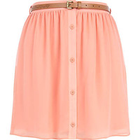 Coral button up belted mini skirt - mini skirts - skirts - women