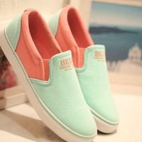 Latest Simple Contrast Colour  Canvas Loafers